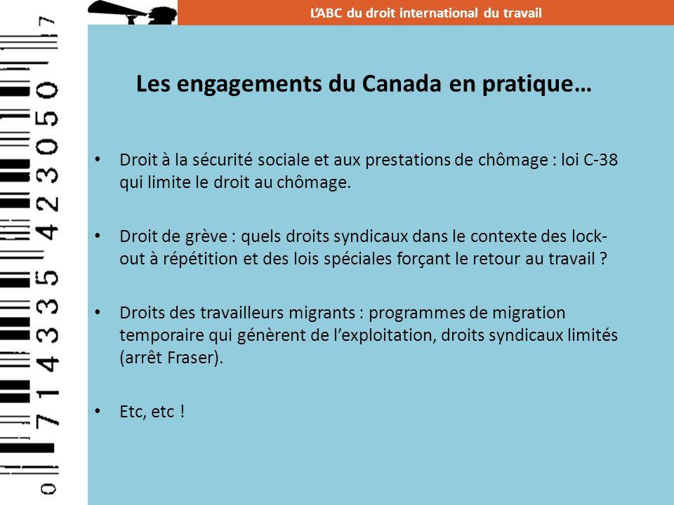 Les engagements du Canada en pratique… Droit à la sécurité sociale et aux prestations de chômage : loi C-38 qui limite le droit au chômage. Droit de g
