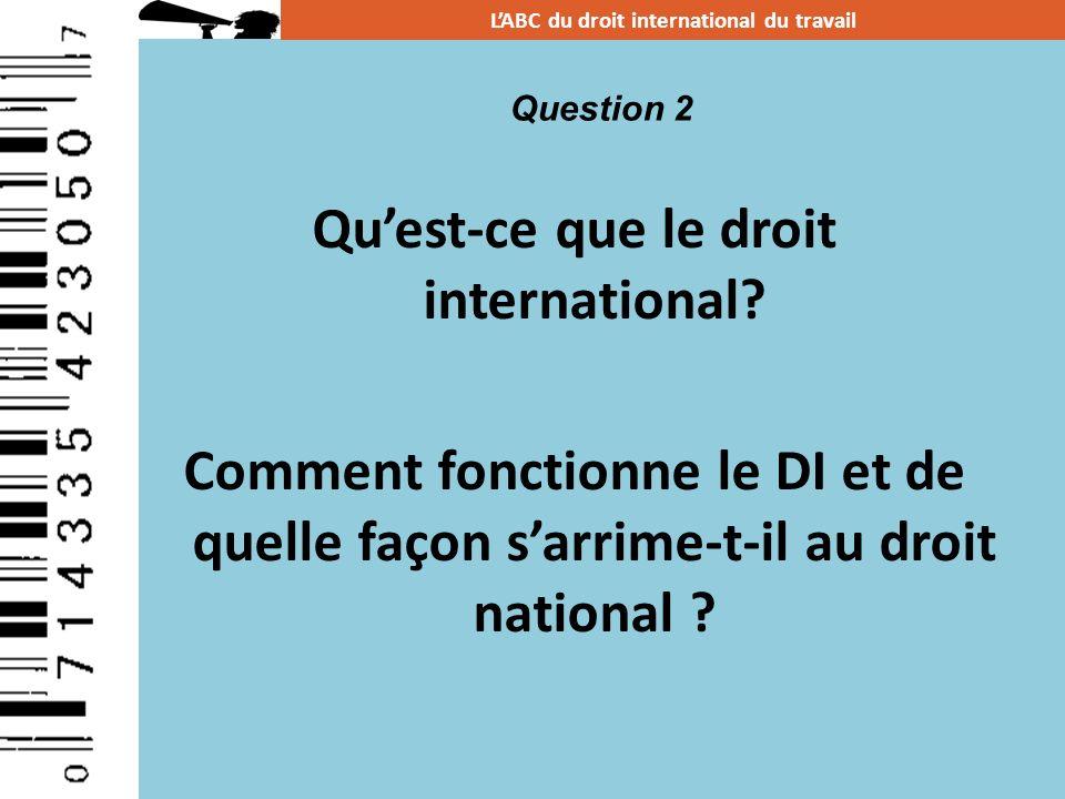 Quest-ce que le droit international? Comment fonctionne le DI et de quelle façon sarrime-t-il au droit national ? LABC du droit international du trava
