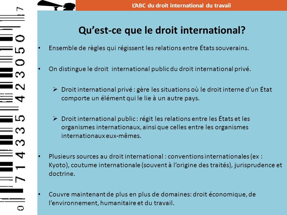 Ensemble de règles qui régissent les relations entre États souverains. On distingue le droit international public du droit international privé. Droit