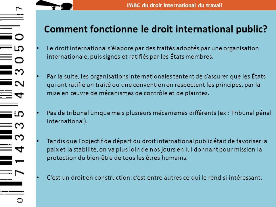 Le droit international sélabore par des traités adoptés par une organisation internationale, puis signés et ratifiés par les États membres. Par la sui