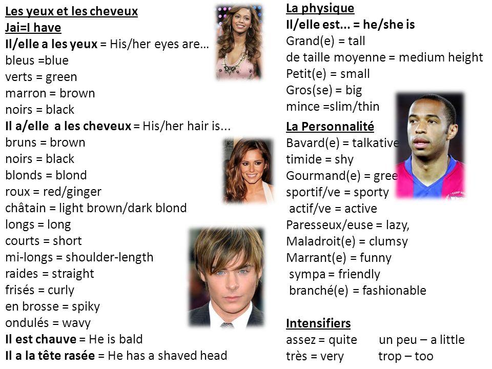 Les yeux et les cheveux Jai=I have Il/elle a les yeux = His/her eyes are… bleus =blue verts = green marron = brown noirs = black Il a/elle a les cheveux = His/her hair is...