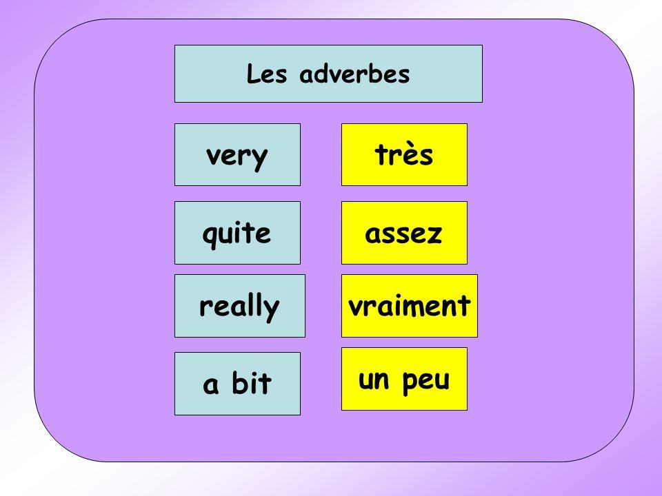Les adverbes very quite really a bit très assez vraiment un peu