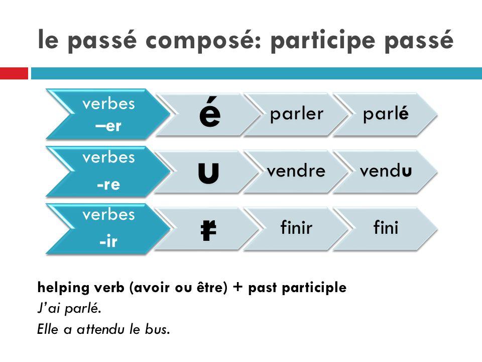 le passé composé: participe passé helping verb (avoir ou être) + past participle Jai parlé.