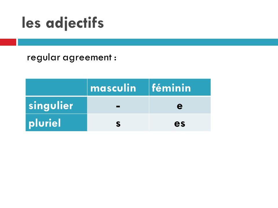 les adjectifs regular agreement : masculinféminin singulier-e plurielses
