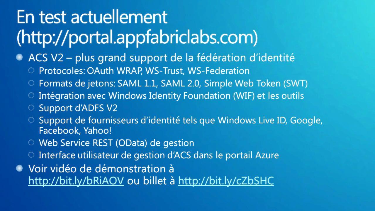 Expérience de développement familière Conçu pour linteropérabilitéTechnologies Microsoft éprouvées Développement: Intégration Visual Studio, simulation locale Maintenance: Débogage local, APIs de log Gestion: APIs de gestion du déploiement Protocoles SOAP et REST Formats de fichiers XML Support de Java, PHP, Python et autres langages de programmation Visual Studio, ASP.NET, SQL Azure integration