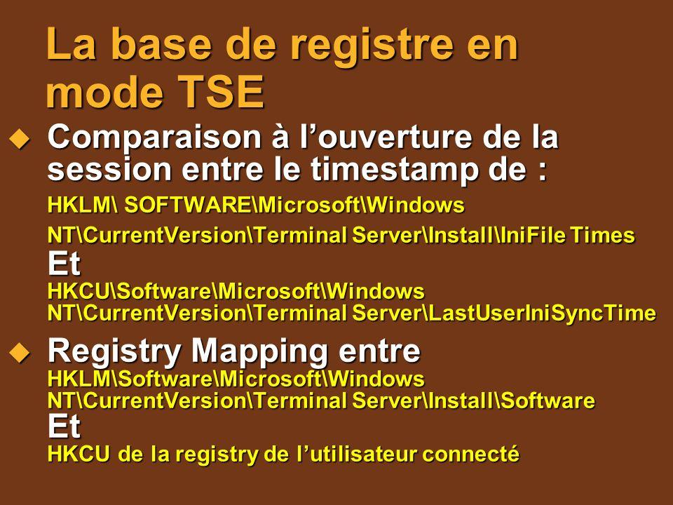 La base de registre en mode TSE Comparaison à louverture de la session entre le timestamp de : Comparaison à louverture de la session entre le timesta