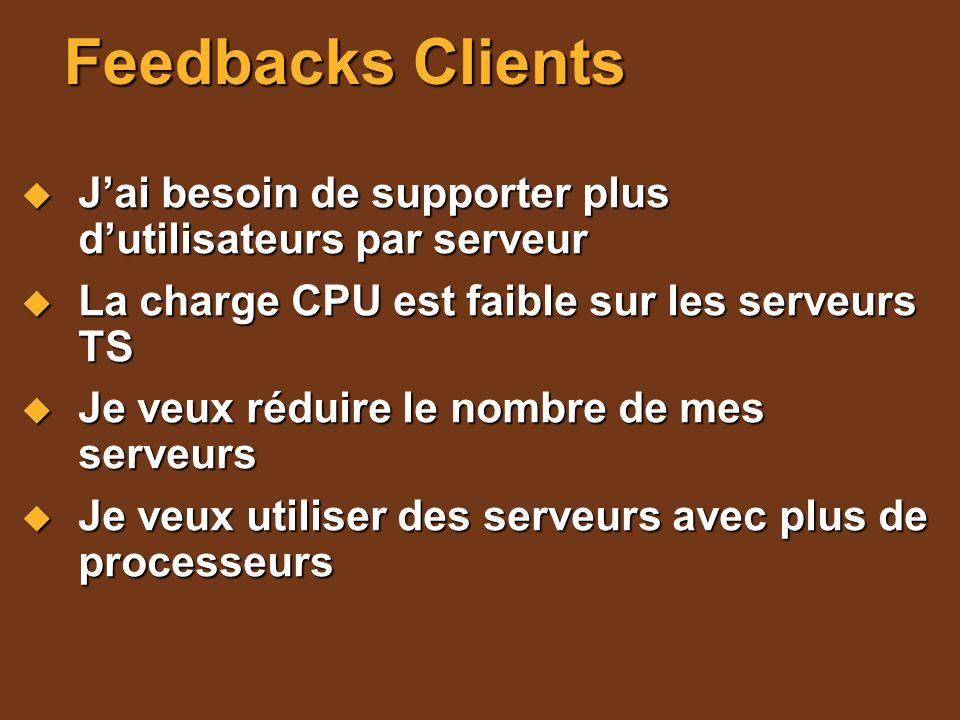 Feedbacks Clients Jai besoin de supporter plus dutilisateurs par serveur Jai besoin de supporter plus dutilisateurs par serveur La charge CPU est faib