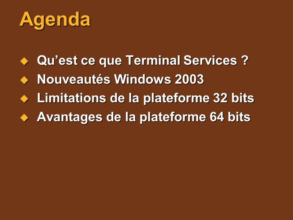 Agenda Quest ce que Terminal Services ? Quest ce que Terminal Services ? Nouveautés Windows 2003 Nouveautés Windows 2003 Limitations de la plateforme