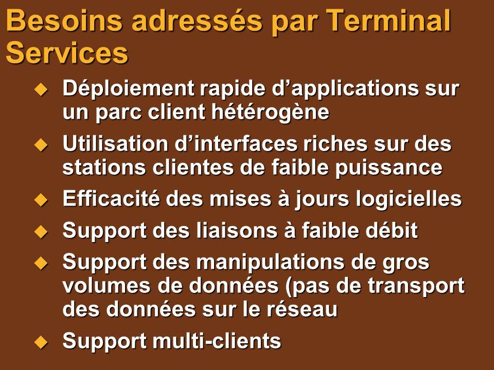 Clients supportés Télécharger le Remote Desktop Connection Software : Télécharger le Remote Desktop Connection Software : Windows 95, 98, Millenium, NT4, 2000 http://www.microsoft.com/windowsxp/downloads/tools/rdcli entdl.mspx http://www.microsoft.com/windowsxp/downloads/tools/rdcli entdl.mspx http://www.microsoft.com/windowsxp/downloads/tools/rdcli entdl.mspx Macintosh : http://www.microsoft.com/downloads/search.aspx?displayl ang=en&categoryid=5 http://www.microsoft.com/downloads/search.aspx?displayl ang=en&categoryid=5 http://www.microsoft.com/downloads/search.aspx?displayl ang=en&categoryid=5 Autres : Editeurs tiers Composant inclus dans Windows XP Composant inclus dans Windows XP