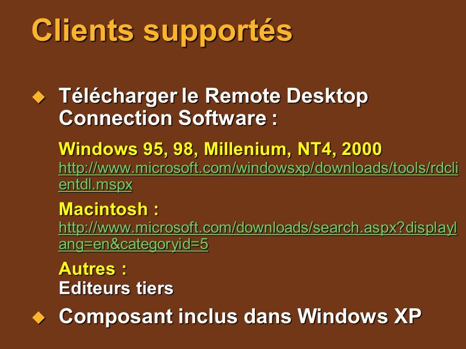 Clients supportés Télécharger le Remote Desktop Connection Software : Télécharger le Remote Desktop Connection Software : Windows 95, 98, Millenium, N