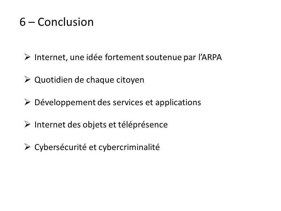 6 – Conclusion Internet, une idée fortement soutenue par lARPA Quotidien de chaque citoyen Développement des services et applications Internet des obj