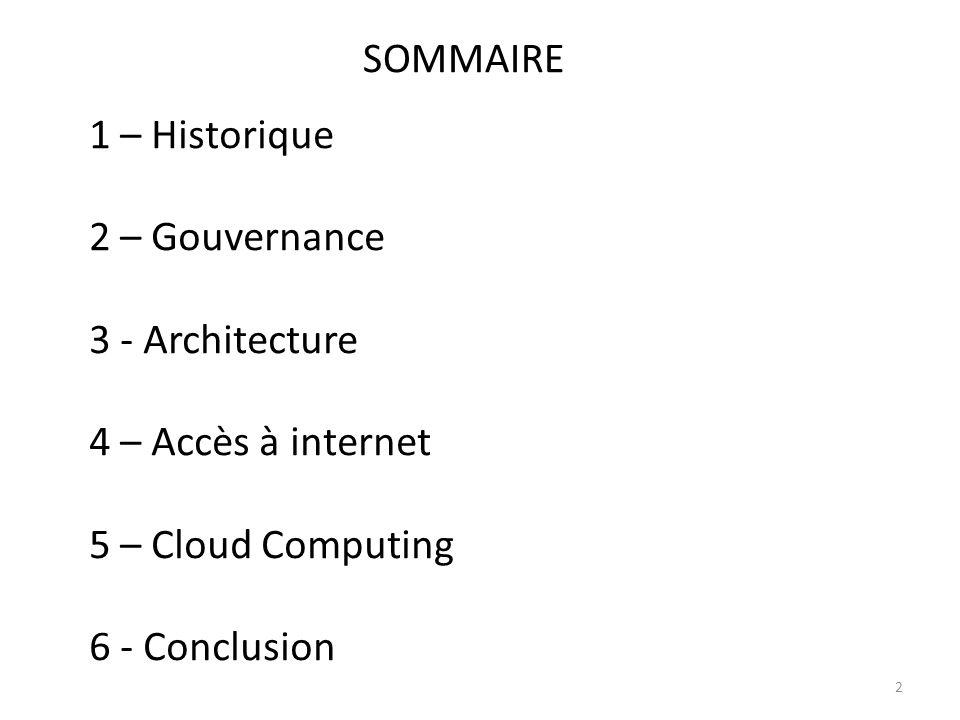 SOMMAIRE 2 1 – Historique 2 – Gouvernance 3 - Architecture 4 – Accès à internet 5 – Cloud Computing 6 - Conclusion