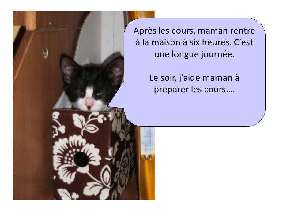 Après les cours, maman rentre à la maison à six heures. Cest une longue journée. Le soir, jaide maman à préparer les cours….