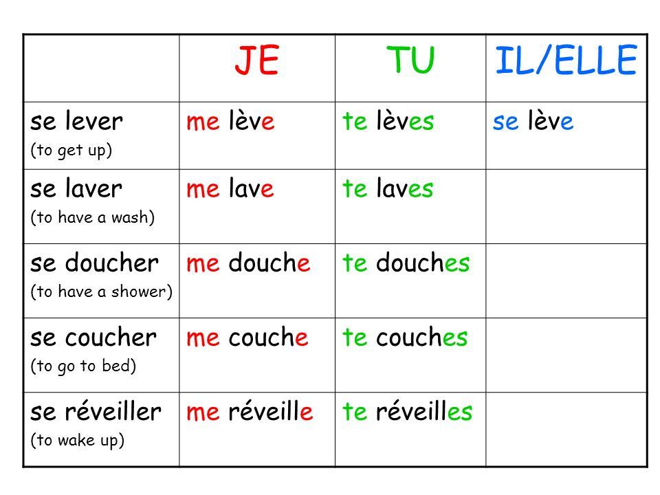 JETUIL/ELLE se lever (to get up) me lèvete lèvesse lève se laver (to have a wash) me lavete laves se doucher (to have a shower) me douchete douches se