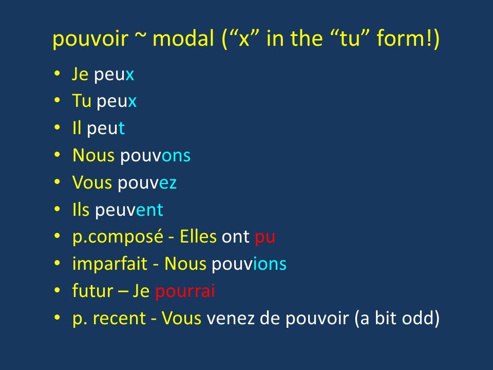 pouvoir ~ modal (x in the tu form!) Je peux Tu peux Il peut Nous pouvons Vous pouvez Ils peuvent p.composé - Elles ont pu imparfait - Nous pouvions fu