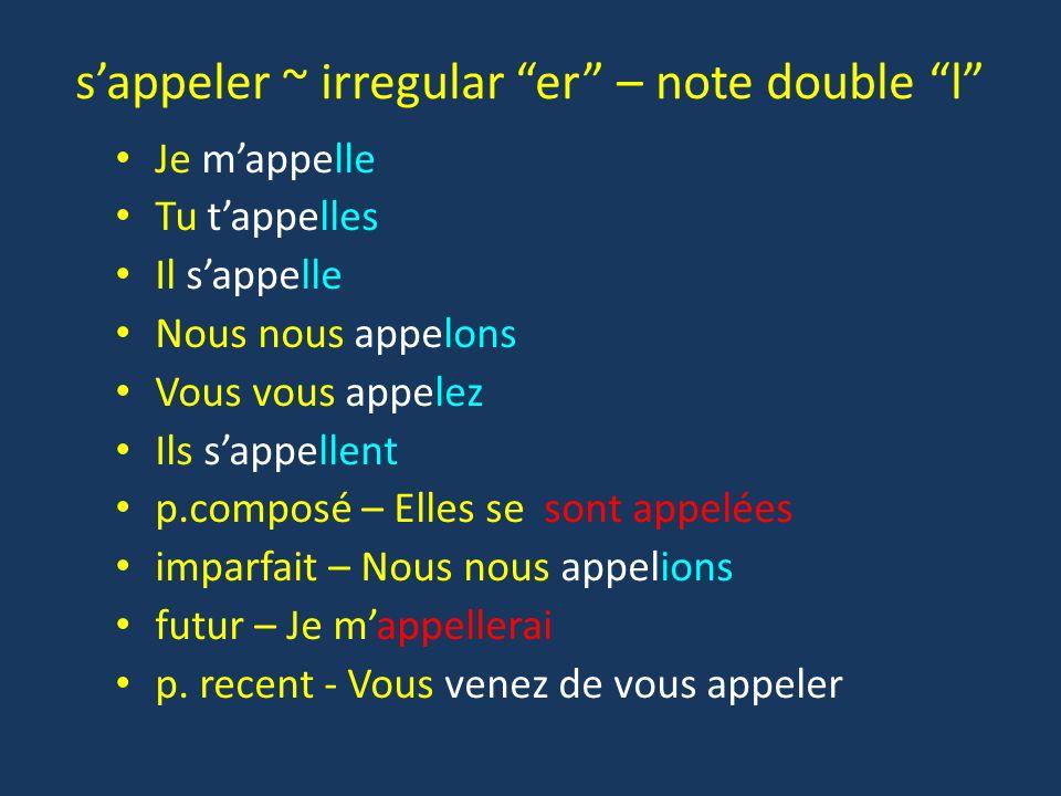 sappeler ~ irregular er – note double l Je mappelle Tu tappelles Il sappelle Nous nous appelons Vous vous appelez Ils sappellent p.composé – Elles se