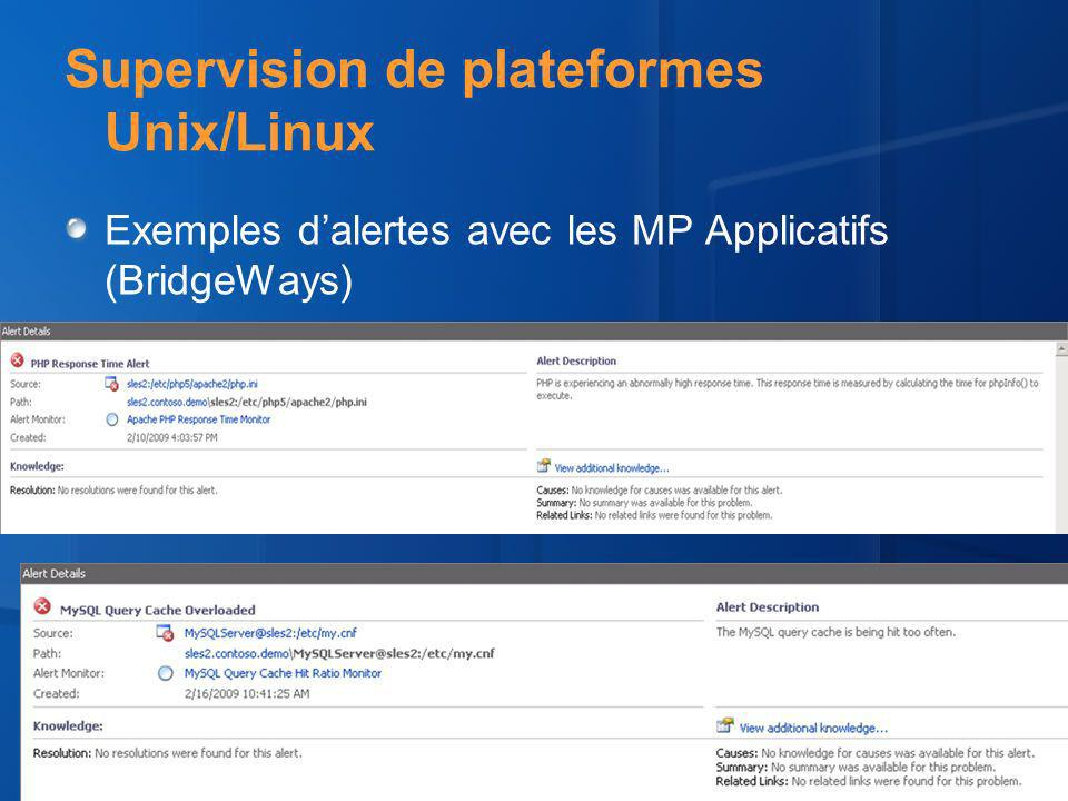 Supervision de plateformes Unix/Linux Exemples dalertes avec les MP Applicatifs (BridgeWays)