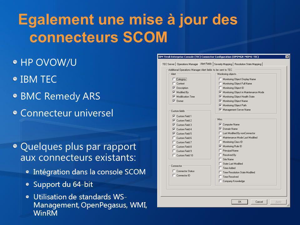 Egalement une mise à jour des connecteurs SCOM HP OVOW/U IBM TEC BMC Remedy ARS Connecteur universel Quelques plus par rapport aux connecteurs existants: Intégration dans la console SCOM Support du 64-bit Utilisation de standards WS- Management, OpenPegasus, WMI, WinRM