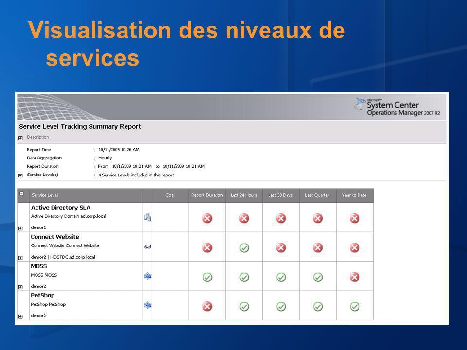 Visualisation des niveaux de services
