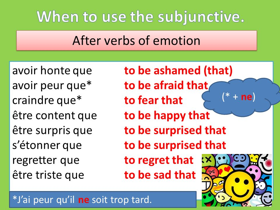 After verbs of emotion avoir honte queto be ashamed (that) avoir peur que* to be afraid that craindre que* to fear that être content que to be happy that être surpris que to be surprised that sétonner que to be surprised that regretter que to regret that être triste que to be sad that (* + ne) *Jai peur quil ne soit trop tard.