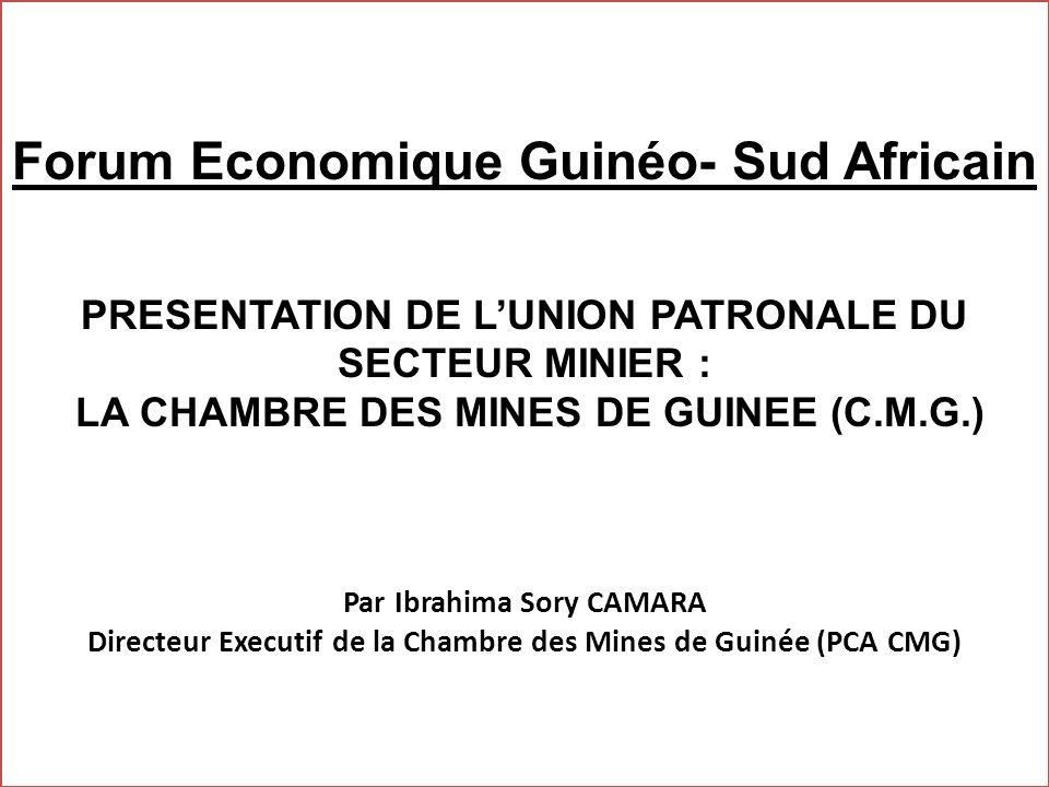 Forum Economique Guinéo- Sud Africain PRESENTATION DE LUNION PATRONALE DU SECTEUR MINIER : LA CHAMBRE DES MINES DE GUINEE (C.M.G.) Par Ibrahima Sory C