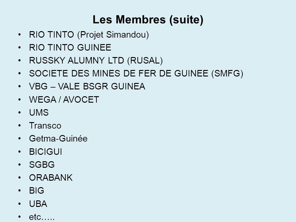 Les Membres (suite) RIO TINTO (Projet Simandou) RIO TINTO GUINEE RUSSKY ALUMNY LTD (RUSAL) SOCIETE DES MINES DE FER DE GUINEE (SMFG) VBG – VALE BSGR G