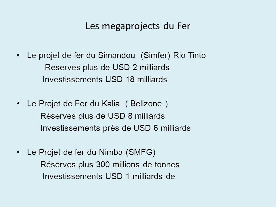 Les megaprojects du Fer Le projet de fer du Simandou (Simfer) Rio Tinto Reserves plus de USD 2 milliards Investissements USD 18 milliards Le Projet de