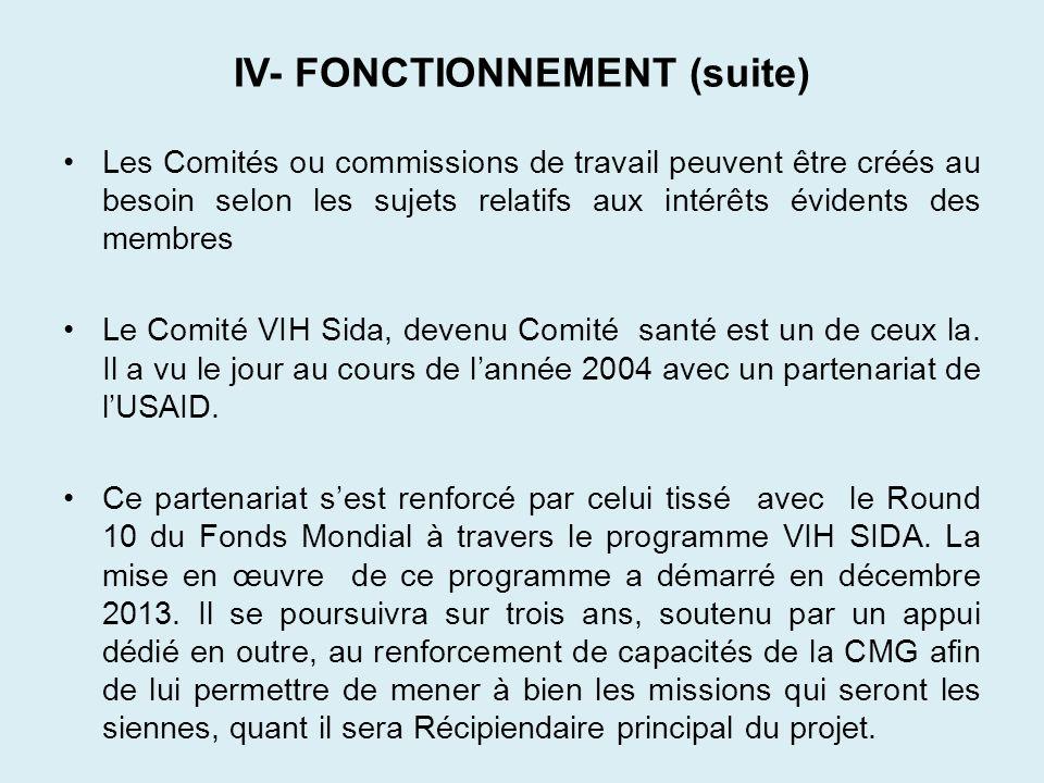 IV- FONCTIONNEMENT (suite) Les Comités ou commissions de travail peuvent être créés au besoin selon les sujets relatifs aux intérêts évidents des memb