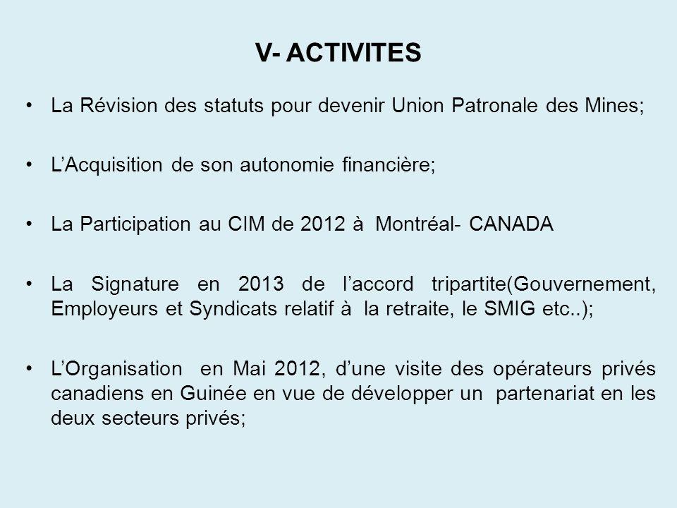 V- ACTIVITES La Révision des statuts pour devenir Union Patronale des Mines; LAcquisition de son autonomie financière; La Participation au CIM de 2012