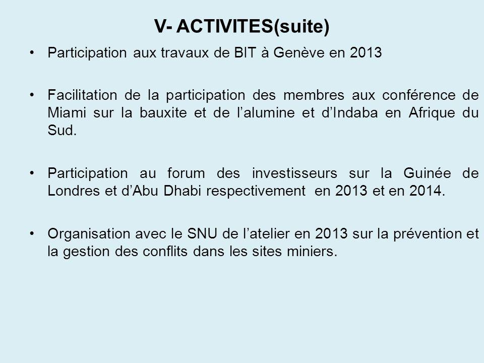 V- ACTIVITES(suite) Participation aux travaux de BIT à Genève en 2013 Facilitation de la participation des membres aux conférence de Miami sur la baux