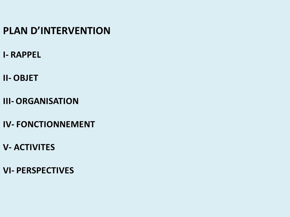 PLAN DINTERVENTION I- RAPPEL II- OBJET III- ORGANISATION IV- FONCTIONNEMENT V- ACTIVITES VI- PERSPECTIVES