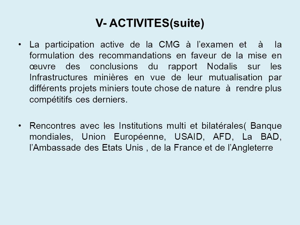 V- ACTIVITES(suite) La participation active de la CMG à lexamen et à la formulation des recommandations en faveur de la mise en œuvre des conclusions