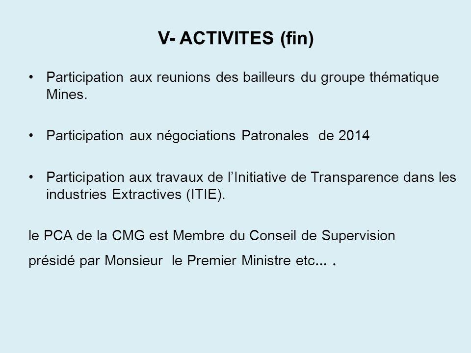 V- ACTIVITES (fin) Participation aux reunions des bailleurs du groupe thématique Mines. Participation aux négociations Patronales de 2014 Participatio