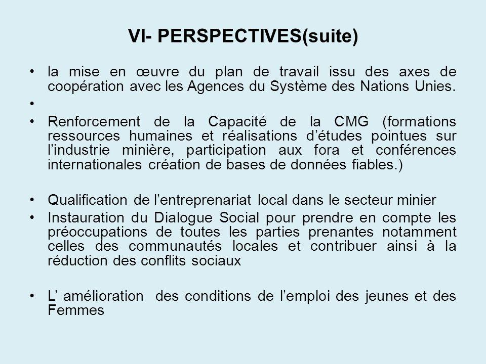 VI- PERSPECTIVES(suite) la mise en œuvre du plan de travail issu des axes de coopération avec les Agences du Système des Nations Unies. Renforcement d