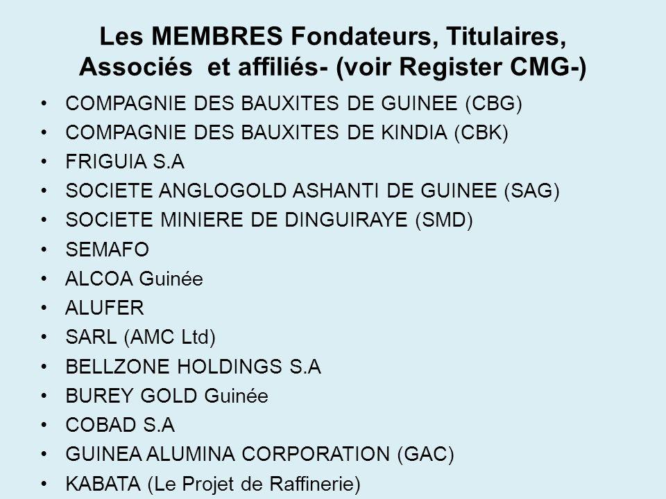 Les Membres (suite) RIO TINTO (Projet Simandou) RIO TINTO GUINEE RUSSKY ALUMNY LTD (RUSAL) SOCIETE DES MINES DE FER DE GUINEE (SMFG) VBG – VALE BSGR GUINEA WEGA / AVOCET UMS Transco Getma-Guinée BICIGUI SGBG ORABANK BIG UBA etc…..