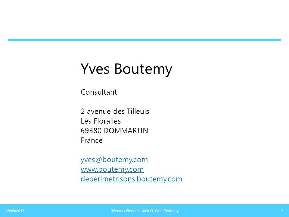 Technologies issues du transport de la voix Voix : bande passante de 4000 Hz Numérisation à raison de 8000 échantillons par seconde, Soit un échantillon (de 8 bits) toutes les 125 µs Soit 64 kbits/s Tout le réseau « bat » à cette cadence Structure des trames Taille fixe Synchronisation + service Champs supplémentaires insérés dans le trafic Légère surcharge sur la bande passante (<5%) 28/09/2013 Réseaux étendus - ©2013, Yves Boutemy 13