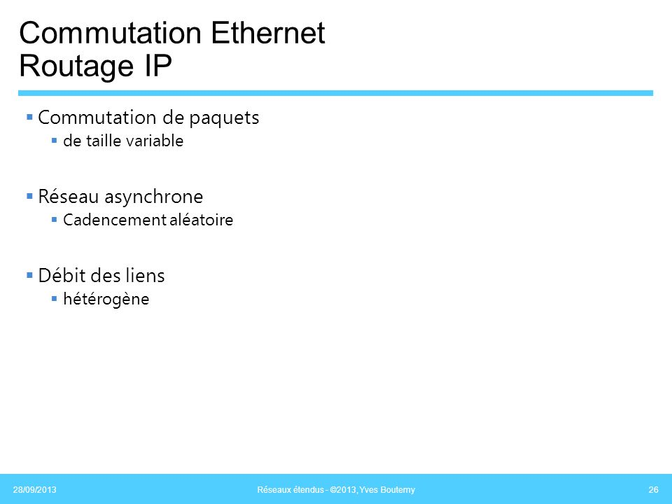 Commutation Ethernet Routage IP Commutation de paquets de taille variable Réseau asynchrone Cadencement aléatoire Débit des liens hétérogène 28/09/201