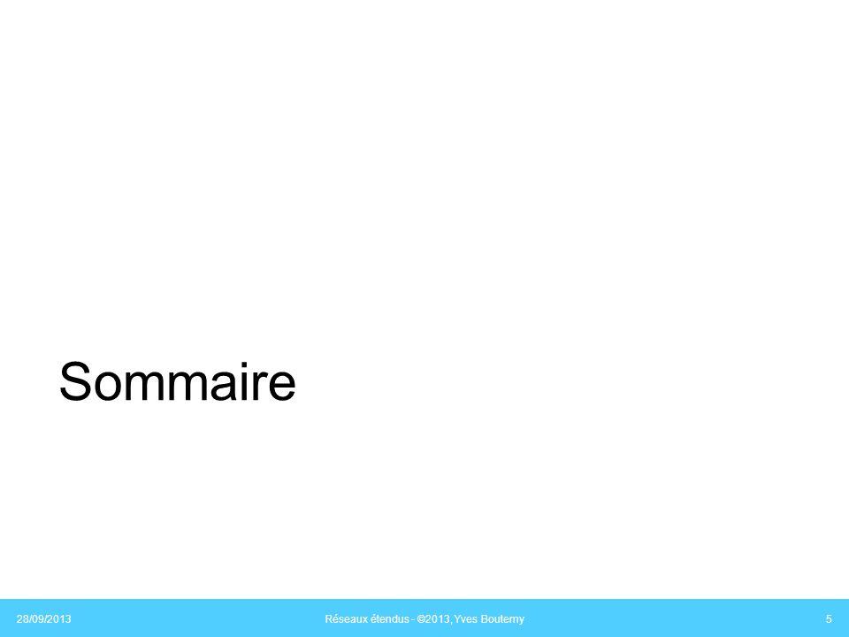 Équipements daccès MoDem, switches, routeurs Laccès physique à un réseau nécessite un équipement Léquipement couvre les couches 1, 2 et 3 du modèle OSI Couche 1 : modulateur/démodulateur (MoDem) Couche 2 : commutateur (switch), pont (bridge) Couche 3 : routeur (router) Plusieurs fonctions sont installées sur un équipement 28/09/2013 Réseaux étendus - ©2013, Yves Boutemy 46