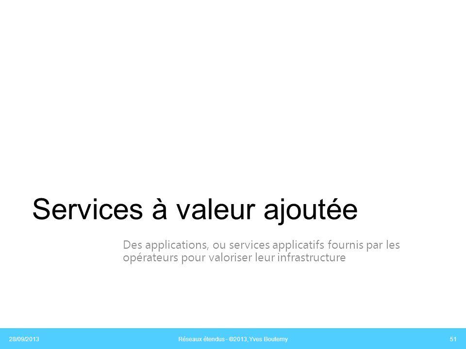 Services à valeur ajoutée Des applications, ou services applicatifs fournis par les opérateurs pour valoriser leur infrastructure 28/09/2013 Réseaux é