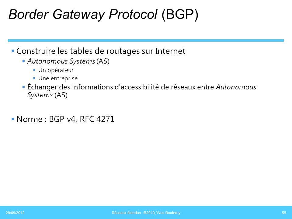 Border Gateway Protocol (BGP) Construire les tables de routages sur Internet Autonomous Systems (AS) Un opérateur Une entreprise Échanger des informat