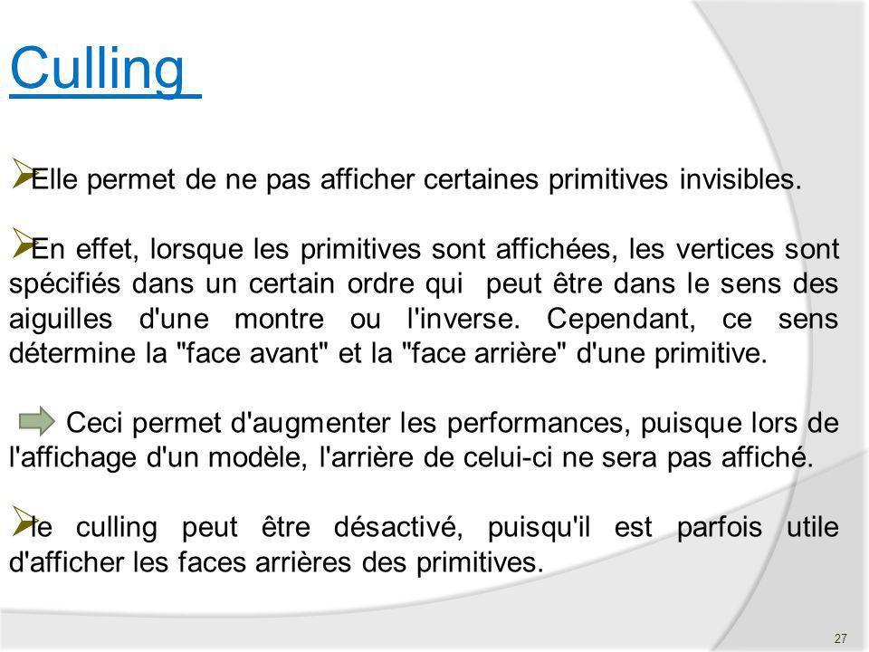 Elle permet de ne pas afficher certaines primitives invisibles. En effet, lorsque les primitives sont affichées, les vertices sont spécifiés dans un c