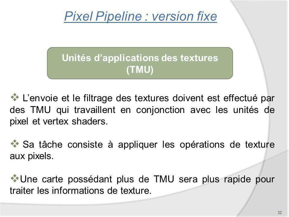 Pixel Pipeline : version fixe Lenvoie et le filtrage des textures doivent est effectué par des TMU qui travaillent en conjonction avec les unités de p
