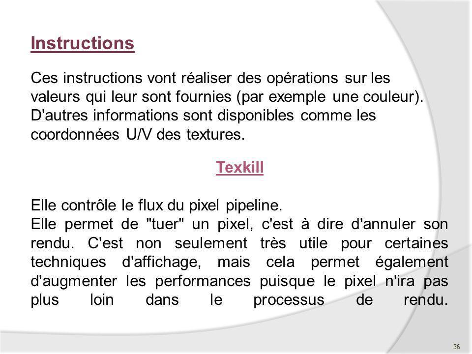Texkill Elle contrôle le flux du pixel pipeline. Elle permet de