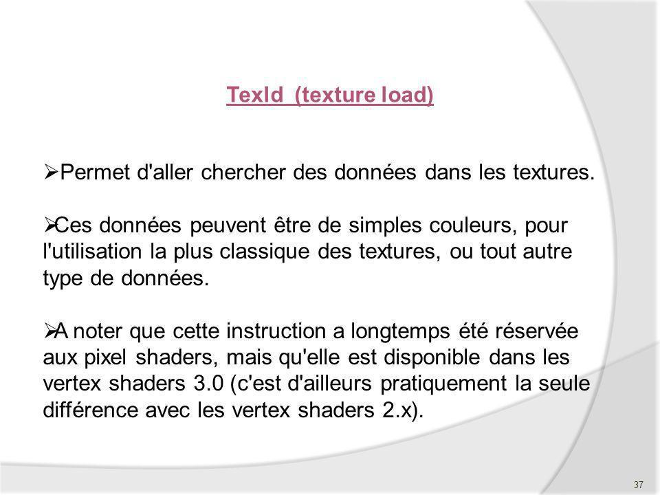 Texld (texture load) Permet d'aller chercher des données dans les textures. Ces données peuvent être de simples couleurs, pour l'utilisation la plus c