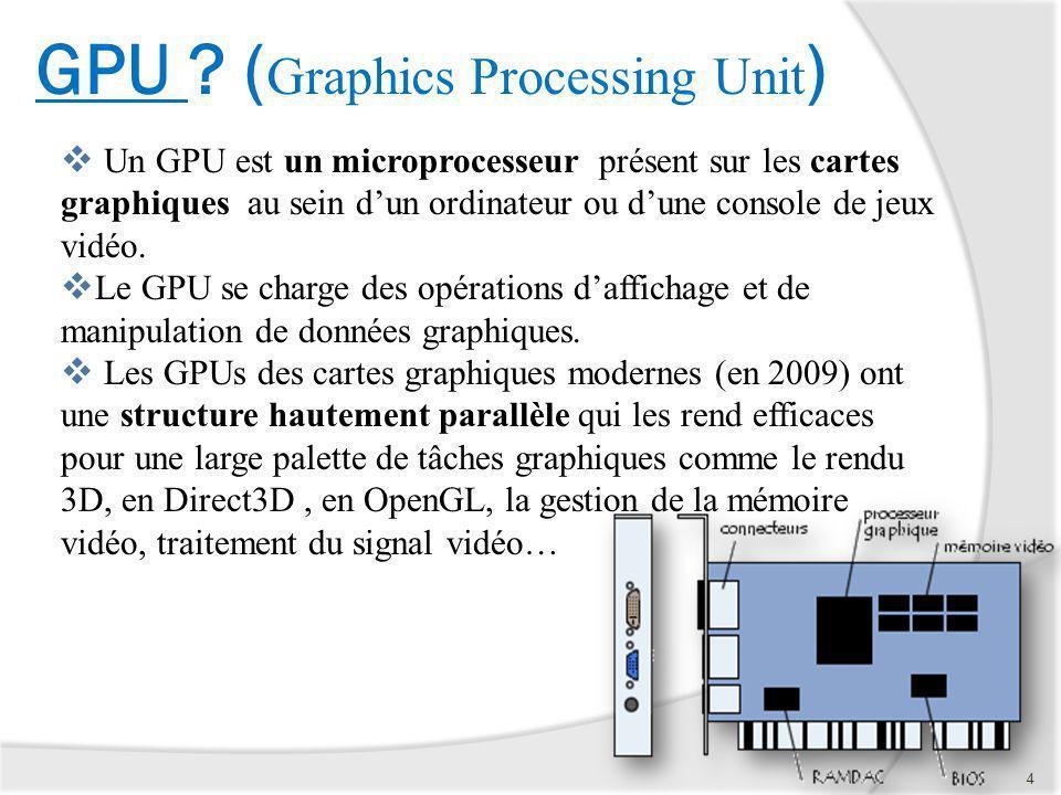 GPU ? ( Graphics Processing Unit ) Un GPU est un microprocesseur présent sur les cartes graphiques au sein dun ordinateur ou dune console de jeux vidé