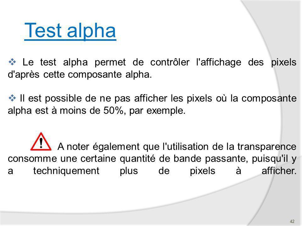 Test alpha Le test alpha permet de contrôler l'affichage des pixels d'après cette composante alpha. Il est possible de ne pas afficher les pixels où l