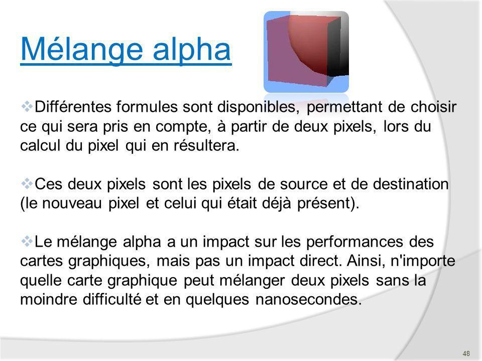 Mélange alpha Différentes formules sont disponibles, permettant de choisir ce qui sera pris en compte, à partir de deux pixels, lors du calcul du pixe