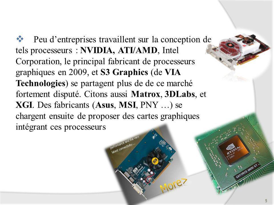 Peu dentreprises travaillent sur la conception de tels processeurs : NVIDIA, ATI/AMD, Intel Corporation, le principal fabricant de processeurs graphiq