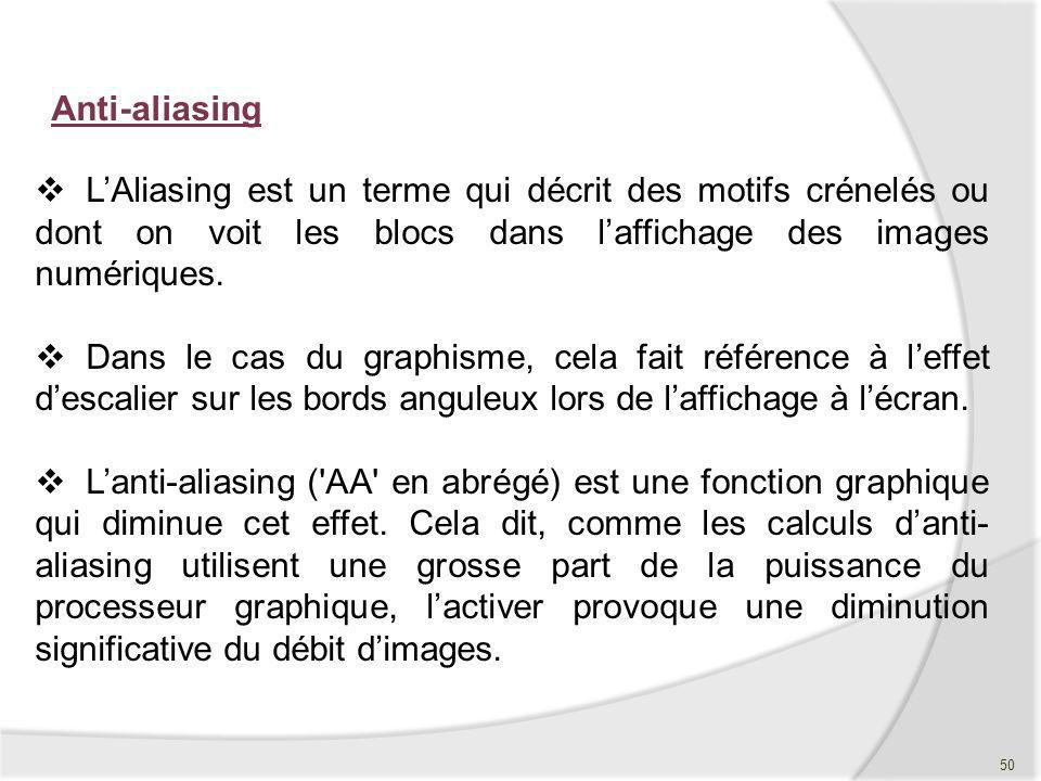 Anti-aliasing LAliasing est un terme qui décrit des motifs crénelés ou dont on voit les blocs dans laffichage des images numériques. Dans le cas du gr