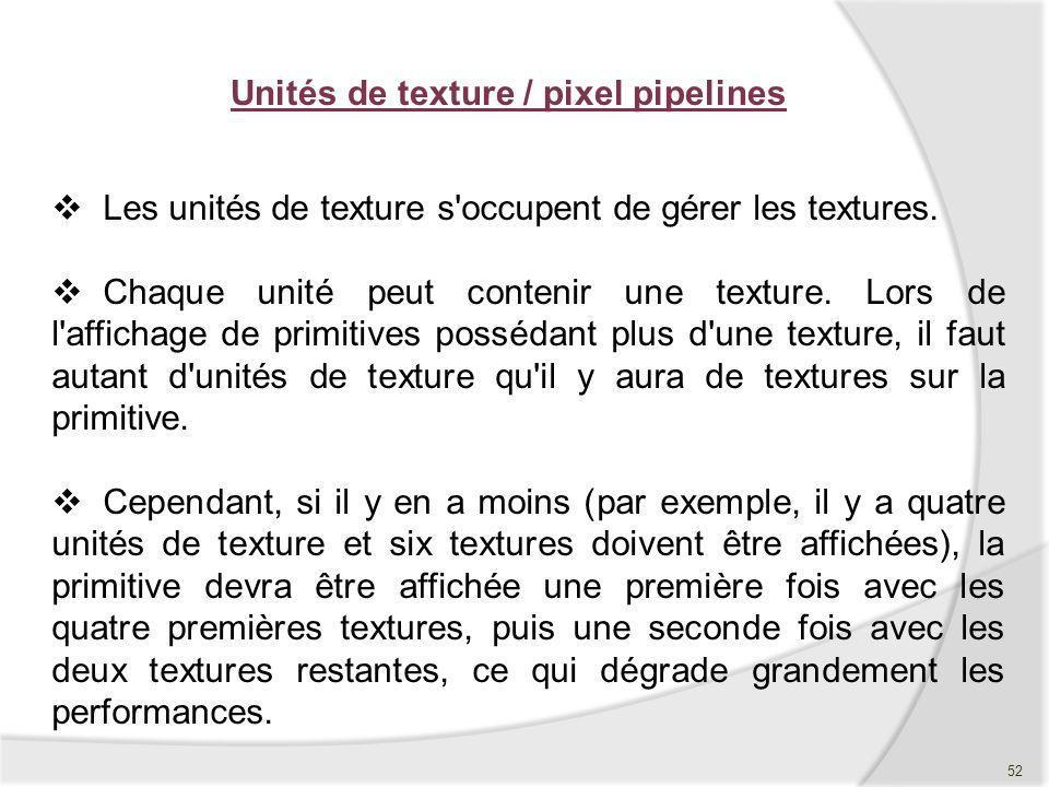 Unités de texture / pixel pipelines Les unités de texture s'occupent de gérer les textures. Chaque unité peut contenir une texture. Lors de l'affichag